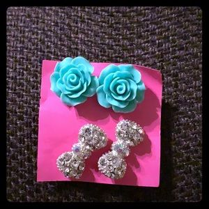 Roses and bows earrings set